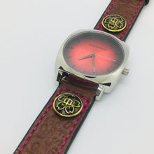 Load image into Gallery viewer, 47Ronin#047 Dark brown calf leather watch strap with Japanese school uniform button, letters embossed  (22mm, maroon stitches)