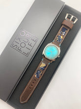 Load image into Gallery viewer, SIXOFOUR Series One - Westend Teal with 47Ronin#318 Mocha brown calf leather (22mm, Sky blue stitching)