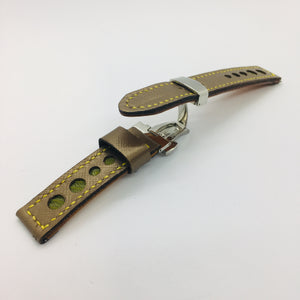 47Ronin#045 Golden calf leather watch strap with Match Green Tatamiberi from Japan (18mm, yellow stitches)