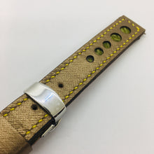 Load image into Gallery viewer, 47Ronin#045 Golden calf leather watch strap with Match Green Tatamiberi from Japan (18mm, yellow stitches)