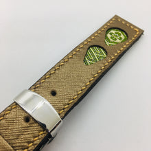 Load image into Gallery viewer, 47Ronin#046 Golden calf leather watch strap with Match Green & Gold Tatamiberi from Japan (22mm, orange stitches)