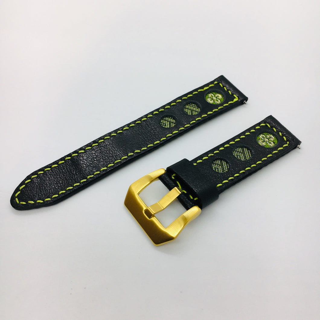 47Ronin#039 Black calf leather watch strap with Matcha green & gold Tatamiberi from Japan (20mm, yellow stitches)