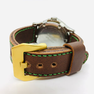47Ronin#042 Brown calf leather watch strap with Green Tatamiberi from Japan (20mm, green stitches)