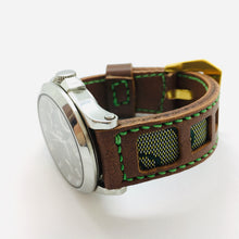 Load image into Gallery viewer, 47Ronin#042 Brown calf leather watch strap with Green Tatamiberi from Japan (20mm, green stitches)