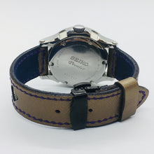 Load image into Gallery viewer, 47Ronin#044 Golden calf leather watch strap with Blue & Gold Tatamiberi from Japan (20mm, purple stitches)