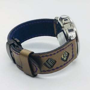 47Ronin#044 Golden calf leather watch strap with Blue & Gold Tatamiberi from Japan (20mm, purple stitches)