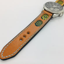 Load image into Gallery viewer, 47Ronin#037 Orange calf leather watch strap with Navy blue, gold, Matcha green Tatamiberi from Japan (20mm, blue & yellow stitches)