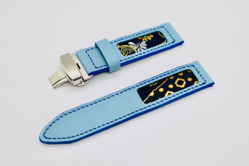 47Ronin#110 Baby Blue calf leather with Japanese Kimono fabric (24mm, Navy stitches)