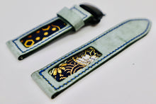 Load image into Gallery viewer, 47Ronin#109 Tiffany Blue calf leather with Japanese Kimono fabric (24mm, Navy stitches)