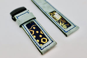 47Ronin#109 Tiffany Blue calf leather with Japanese Kimono fabric (24mm, Navy stitches)