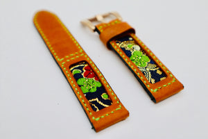 47Ronin#106 Orange brown calf leather, Japanese kimono fabric (20mm, green stitches)