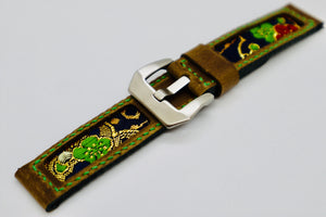 47Ronin#107 Caramel brown calf leather (20mm, green stitches)