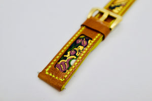 47Ronin#105 Bronze brown calf leather watch strap with Japanese kimono fabric (22mm, yellow stitches)