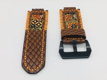 Load image into Gallery viewer, 47Ronin#112 Chocolate brown calf leather with reptile print watch strap, Japanese kimono fabric (orange stitching)