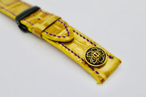 47Ronin#102 Golden coated calf leather with crocodile embossed (22mm, purple stitches)