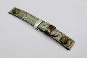 47Ronin#054 Greyish green crocodile skin (20mm, red stitches)