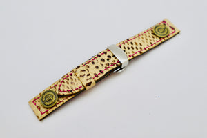 47Ronin#101 Walnut brown calf leather with Snake print (20mm, magenta pink stitches)