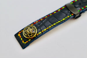 47Ronin#057 Black crocodile skin (20mm, multi-colour stitches)