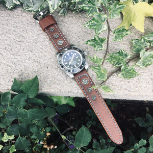 47Ronin#035 Brown calf leather watch strap with Navy blue & gold Tatamiberi from Japan (20mm, blue stitches)