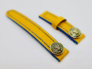 47Ronin#116 Yellow calf skin (16mm, Navy blue stitching)