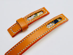 47Ronin#115 Pumpkin orange calf skin (16mm, Sky blue stitching)