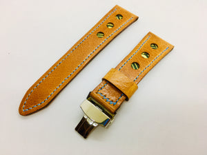 47Ronin#122 Bronze brown calf leather watch strap with Tatamiberi (24mm, Grey stitching)