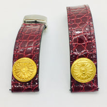 Load image into Gallery viewer, 47Ronin#059 Maroon Crocodile skin watch strap with Golden button from Old Japan National Rail Company (20mm, black stitches)