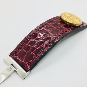 47Ronin#059 Maroon Crocodile skin watch strap with Golden button from Old Japan National Rail Company (20mm, black stitches)