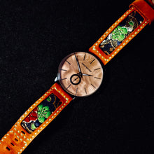 Load image into Gallery viewer, 47Ronin#106 Orange brown calf leather, Japanese kimono fabric (20mm, green stitches)