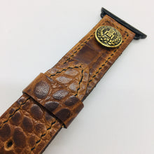 Load image into Gallery viewer, 47Ronin#060 Dark brown calf leather with Crocodile print watch strap with Japanese school uniform button (22mm, black stitches)