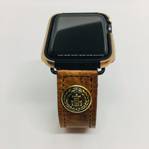 47Ronin#060 Dark brown calf leather with Crocodile print watch strap with Japanese school uniform button (22mm, black stitches)