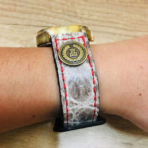 47Ronin#029 Crocodile skin watch strap with Japanese school button (20mm, red stitches)