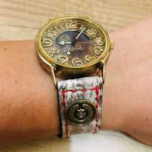 Load image into Gallery viewer, 47Ronin#029 Crocodile skin watch strap with Japanese school button (20mm, red stitches)