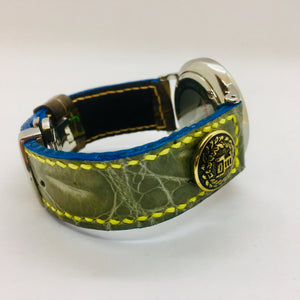47Ronin#053 Two tone Greyish green crocodile skin & Brown calf leather (20mm, yellow & orange stitches)