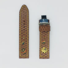 Load image into Gallery viewer, 47Ronin#062 Chocolate brown calf leather with reptile print watch strap, Japanese kimono fabric (21mm, yellow stitches)