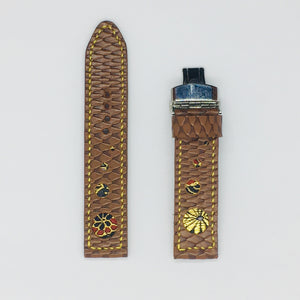 47Ronin#062 Chocolate brown calf leather with reptile print watch strap, Japanese kimono fabric (21mm, yellow stitches)