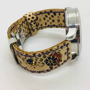 47Ronin#061 Walnut brown calf leather with Snake print watch strap, Japanese kimono fabric (21mm, purple stitches)