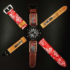 47Ronin#112 Chocolate brown calf leather with reptile print watch strap, Japanese kimono fabric (orange stitching)