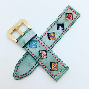 47Ronin#081 Tiffany Blue calf leather (22mm, Pink stitches)