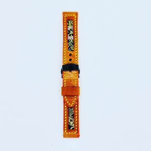 47Ronin#108 Bronze brown calf leather with Japanese kimono fabric (18mm, yellow stitches)