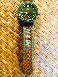 47Ronin#304 Brown lizard embossed calf leather (22mm, Green stitching)