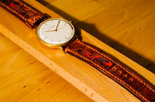Load image into Gallery viewer, 47Ronin#147 Dark brown croc embossed calf leather (20mm, Orange stitching)