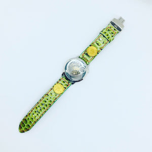 47Ronin#066 Bright green calf leather watch strap with Former Japan National Railways Company uniform button (21mm, red stitches)