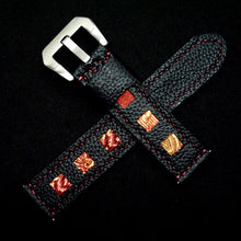 Load image into Gallery viewer, 47Ronin#214 Black calf leather (20mm, Maroon stitching)
