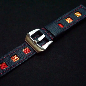 47Ronin#214 Black calf leather (20mm, Maroon stitching)