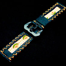 Load image into Gallery viewer, 47Ronin#211 Black calf leather (22mm, Orange stitching)