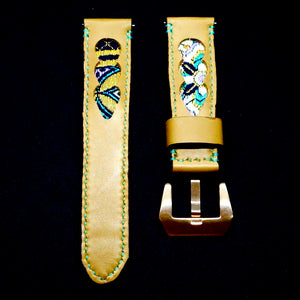 47Ronin#196 Desert brown calf leather (22mm, Turquoise stitching)