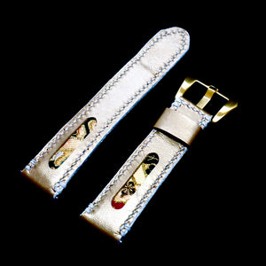 47Ronin#197 Golden coated calf leather (22mm, White stitching)