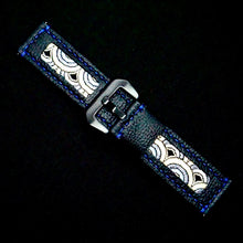 Load image into Gallery viewer, 47Ronin#202 Black calf leather (24mm, Navy blue stitching)
