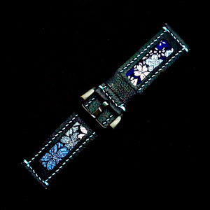 47Ronin#203 Black calf leather (24mm, Sky blue stitching)